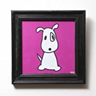 "Big Puppy Iin pink, Canvas, Embellished with Stones and Wooden Frame (13"" x 13"", Magenta and White)"