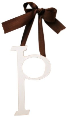 New Arrivals Wooden Letter P with Solid Brown Ribbon, Cream