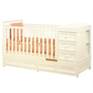Convertible Crib With Changing Table In White Finish