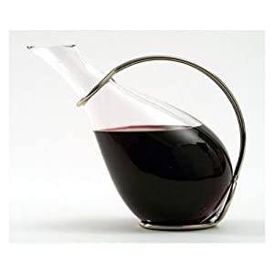 Tecno Wine Decanter 32 oz with Silver Plated Stand