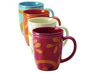 Rachael Ray Dinnerware Gold Scroll 4-Piece Mug Set