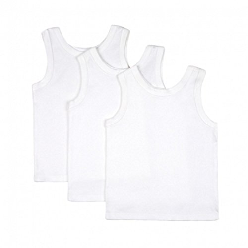BIG OSHI Baby 3 Pack Sleeveless Undershirt Tank - PLK-804 - White, 6-9 Months