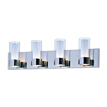 Bathroom Vanity Lights Chrome Finish : Maxim Lighting 23074CLFTPC Silo 4-Light Bath Vanity, Polished Chrome Finish with Clear/Frosted ...