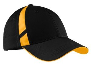 Sport-Tek Dry Zone Mesh Inset Cap, Black/Gold front-957614