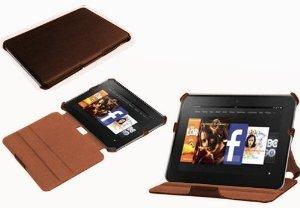 NAVITECH - Housse à rabat en cuir bycast marron avec stand à angles multiples, fonction réveil/sommeil automatique Kindle Fire HD 8.9