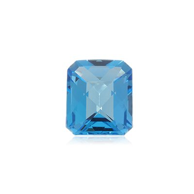 3.00 Cts of 9x7 mm AA Emerald Checker Board Loose Swiss Blue Topaz ( 1 pc ) Gemstone