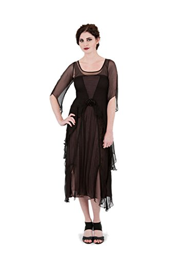 Nataya 10709 Women's 1920's Vintage Style Great Gatsby Dress in Black/Coco