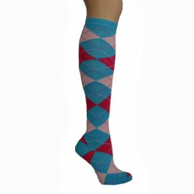 bright blue hot pink argyle knee hi socks spandex these socks are one ...