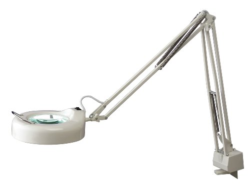 Normande-Lighting-22W-Daylight-Spectrum-Clamp-Lamp-w-Magnifier-42-in-Height-with-white-Painted-Finish