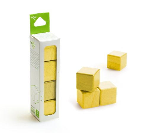 4 Piece Tegu Magnetic Wooden Block Cube Set, Yellow