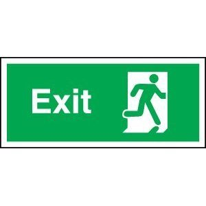 Fire Exit Sign - Running Man Through Door (Self Adhesive Vinyl / 300x150mm)