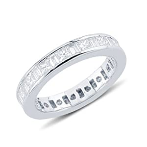 Princess and Baguette Cut Diamond Eternity Wedding Band In 14K White Gold