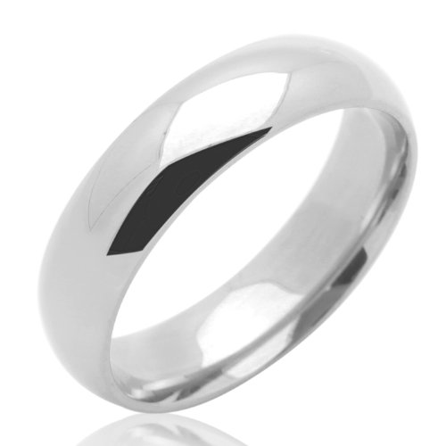 14K Gold Wedding Band Women's 5MM Plain Comfort Fit White Gold Ring For Size 5
