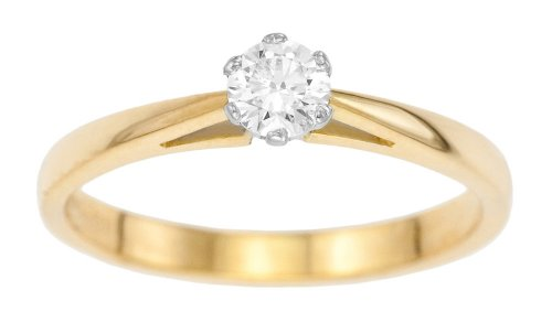18ct Yellow Gold Diamond Engagement Ring With Round Brilliant Diamond Solitaire, 1/4 Carat Diamond Weight