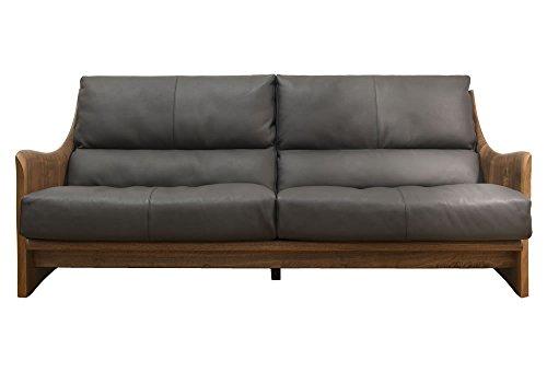 【受注生産品|ソファー】最高級の座り心地!ウォールナット材のソファー (ブラックウォールナット無垢材(革DE))