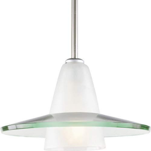 Progress Lighting P5011-09 Contemporary Stem-Hung Pendant with An Etched Glass C1 Supporting A Curved Clear Glass Shade Canopy, Brushed Nickel