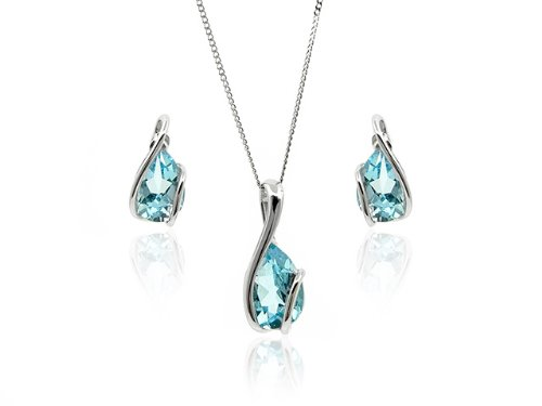 9ct White Gold Blue Topaz Earring and Pendant Set + 18'' Curb Chain