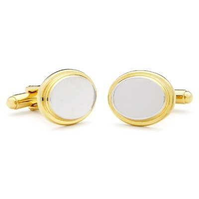 Two Toned Oval Engravable Cufflinks