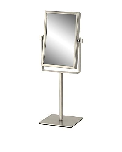 Nameeks Double Face Rectangular 3X Makeup Mirror, Satin Nickel Finish