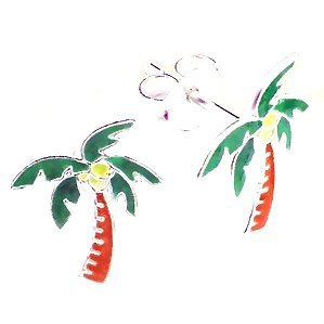 Adorable Palm Tree Sterling Silver Childrens Earrings Post/stud