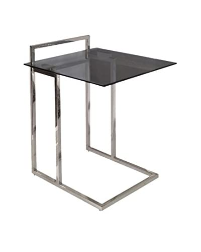 Casabianca Mint Nightstand/End Table, Chrome/Black Glass