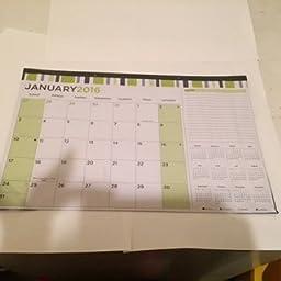 2016 Deskpad Calendar in Monthly Format (Green Pattern)
