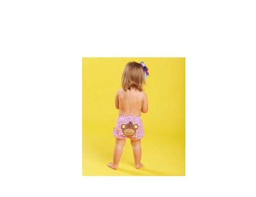 Mud Pie Newborn-Baby Girls Monkey Diaper Cover Pink, 0-12 Months - 1