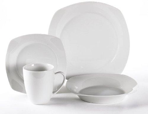 Simply White SM-1600SQ Dinnerware Set, 16-Piece