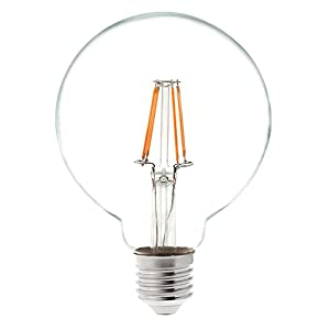 HERO-LED G30 E26/E27 Medium Screw Base Edison Globe Style LED Vintage Antique Filament Bulb, Squirrel Cage Nostalgic Tungsten Filament Replacement Incandescent Bulbs, 4-Pack(Not Dimmable)