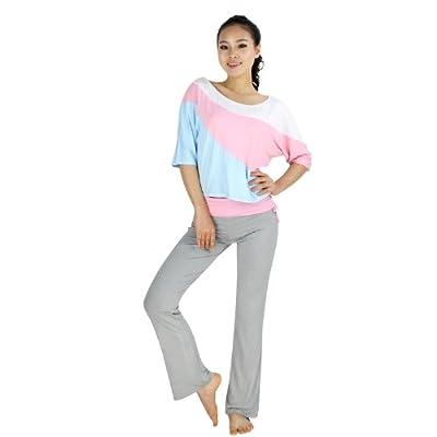 VENI MASEE® Frauen weiche lockere Stil zweiteilige Yoga Fitness Set, Dreiviertel-Ärmeln top & lange Hosen