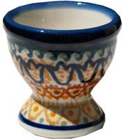 Polish Pottery Egg Cup Set Of 4 From Zaklady Ceramiczne Boleslawiec #203-117 Art Signature Pattern