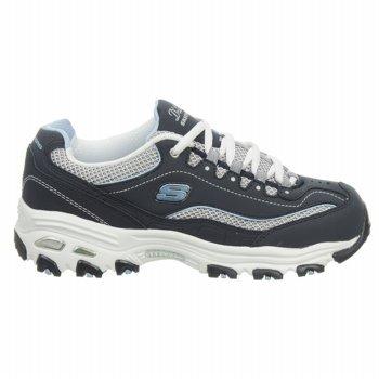 "Women'S Wide Width Skechers Sneakers ""D'Lites-Centennial"" - Navy/White/Lt Blue (5W, Navy/White/Light Blue)"