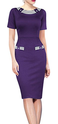 La Vogue Women Bodycon Stripe Dress Contrast Color Pencil Dress Purple UK 8