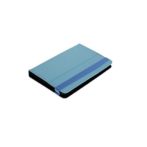 Z0203 Universal Leder Bookstyle Tasche Buch Aufklapp Stand Bag Hardcover Hardcase Tasche Case Hülle Cover 7 Zoll Kletthalterungen Hellblau für Bookeen Cybook Odyssey HD
