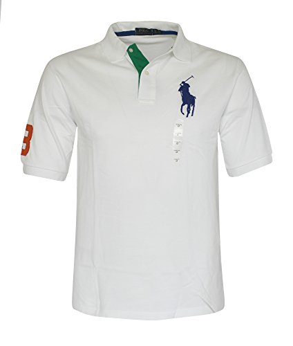 Polo Ralph Lauren Mens Big & Tall Classic Big Pony Polo (3XB, White) (Ralph Lauren Clothing compare prices)
