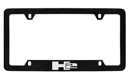 Hummer H2 Logo Black Coated Plated Metal Bottom Engraved License Plate Frame (Hummer H2 License Plate Frame compare prices)