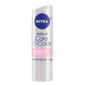 Nivea Lip Care A Kiss of Care and Color Tinted Lip Balm Carded Stick, Sheer Pink (Pack of 6)