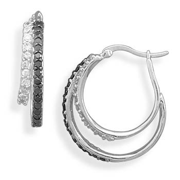 Rhodium Plated Black and White CZ Hoop Earrings