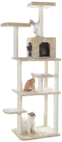 GleePet GP78740821 Cat Tree, 74-Inch, Beige