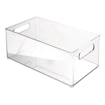 InterDesign Fridge and Freezer Storage Bin, 8-Inch by 6-Inch by 14.5-Inch, Clear