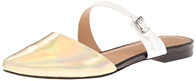 Sigerson Morrison Women's Heidy Mary Jane Flat,Light Gold/White,6 M US