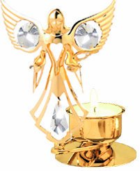 Angel Holding Two Doves Tea-Light..... With Clear Swarovski Austrian Crystal
