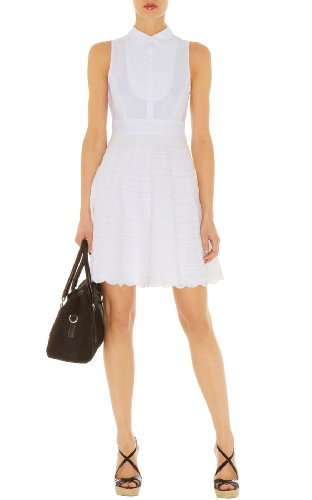 White Lace Stripe Dress