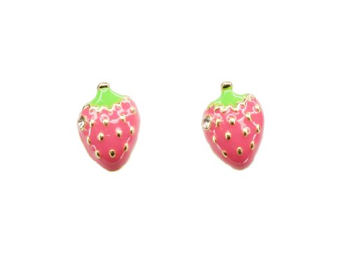 Pink Color Strawberry w Clear Crystal Fashion Stud Earrings, Pack of 1