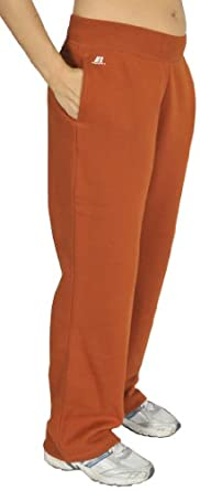 Russell Athletic Womens versatile collegiate inspired ribbed inside drawstring waistband with side pockets Fleece Pant, Texas Orange XXL