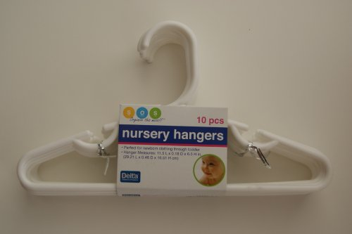Delta White Nursery Hangers 10 pack- for Baby, Toddler, Kids, Children