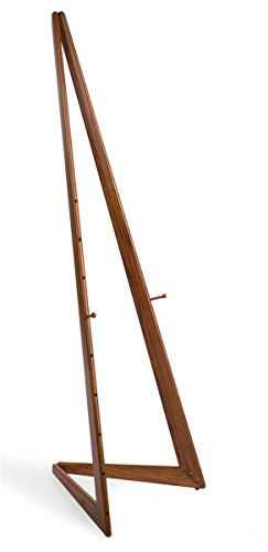 Displays2go Wooden Display Easel with Height-Adjustable Pegs, Bifold Design, 65 inches Tall - Honey Wheat (BFE6HW)