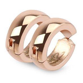 Ein Paar goldene Clip-On Huggie-Creolen (kein Piercing nötig) aus Edelstahl