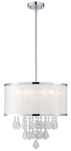 Canarm Ich435A04Ch9 Reese 4-Light Chandelier With Frosted Sparkle And Clear Crystals, Chrome