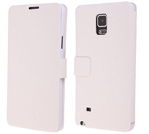 niceeshop(TM) Weiß Seide Beschaffenheits Muster Folio Ständer Entwurf PU Leder Smart Geldbörse Case Hülle für Samsung Note 4mit Displayschutzfolie (3pcs)
